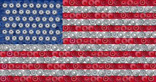 American economy. Symbol represented by gears and cogs in the shape and color of the flag of the U.S.A. representing industry business and manufacturing working Stock Images