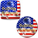 American economy buttons. Two American flag stickers with words bubbles economy presented on white background Stock Photo