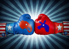 American Election. Campaign fight as Republican versus Democrat as two boxing gloves with the elephant and donkey symbol stitched fighting for the vote of the Stock Image