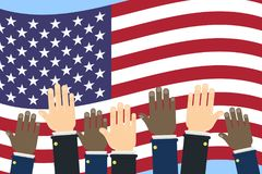 American election campaign. Hands on usa flag Stock Photo