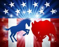 American Election Concept. A donkey and elephant in silhouette charging at each other. Mascot animals of American democratic and republican parties, concept for Royalty Free Stock Image