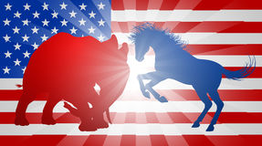American Election Concept. A donkey and elephant silhouettes charging at each other. Mascot animals of American democratic and republican parties, concept for Stock Photo