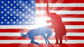 American Election Concept Elephant Beating Donkey. A donkey and elephant fighting in silhouette, with the elephant winning, symbols of American democratic and Stock Photo