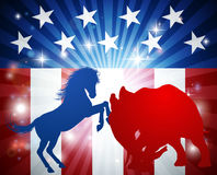 American Election Concept. Mascot animals of American democratic and republican parties, blue donkey and red elephant in silhouette fighting each other. Concept Stock Image