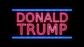 American Election Donald Trump Sign Neon Sign in Retro Style Turning On stock video footage