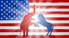 American Election Flag Concept. A donkey and elephant fighting in silhouette, with the elephant and donkey rearing up.  Mascot animals of American democratic and Royalty Free Stock Photos