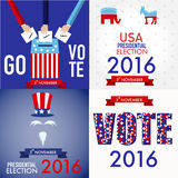 American election 2016 poster design set for web. And graphic design vector. illustration EPS10 Royalty Free Stock Photography