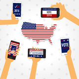 American election 2016  with smart phone vector. illustration EP Royalty Free Stock Photography