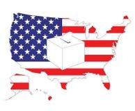 American elections. USA flag map and ballot box Royalty Free Illustration