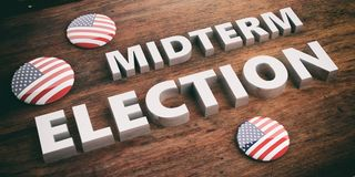 USA flag pin button, midterm elections, wooden background, 3d illustration. American elections concept. USA flag pin button / badge and midterm elections on vector illustration