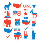 American Elections icon set. Republican elephant and Democratic Stock Photography