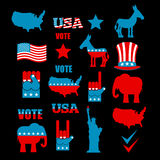 American Elections icon set. Republican elephant and Democratic Royalty Free Stock Images