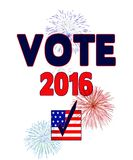 American 2016 Elections - Patriotic Sign - Fireworks. Red white and blue American patriotic sign . . . Vote in 2016 with checkmark over American Flag. ideal for vector illustration