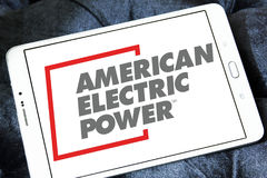 American Electric Power, AEP logo. Logo of energy and home services company American Electric Power, AEP on samsung tablet stock photo