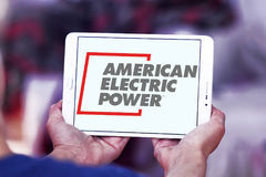 American Electric Power, AEP logo. Logo of energy and home services company American Electric Power, AEP on samsung tablet stock images