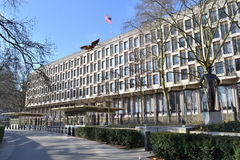 American Embassy Dwight Eisenhower statue London. American Embassy and Dwight Eisenhower statue in London Grosvenor Square royalty free stock photography
