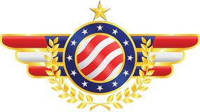 American emblem. American patriotic emblem made of gold, silver and silk with fragments of american flag, stars, olive branches Royalty Free Stock Images