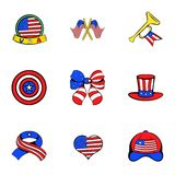 American emblem icons set, cartoon style. American emblem icons set. Cartoon illustration of 9 american emblem vector icons for web Royalty Free Stock Image