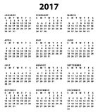 2017 american or english calendar. White background. Ready to print. Easy to edit Stock Photo