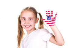 American and English flags on child's hands. Learning English language concept Stock Images