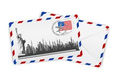 American Envelope. Illustration of statue of liberty on envelope with american stamp Royalty Free Stock Image