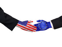 American and EU handshake. On white background Royalty Free Stock Photography