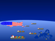 American and EU trade stock illustration