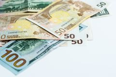 American and Euro money royalty free stock photography