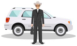 American, european businessman standing near the car on white background in flat style. Detailed illustration of automobile and ma Royalty Free Stock Images