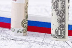 American and European currencies. Strengthening of the Russian currency against the Euro Royalty Free Stock Images