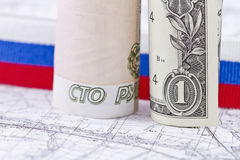 American and European currencies Stock Photography