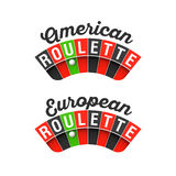 American and European Roulette wheel Stock Images