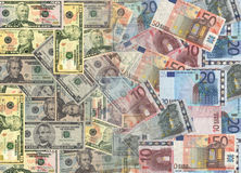 American and euros currency Royalty Free Stock Photo
