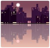 An American evening city background vector illustration