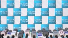 AMERICAN EXPRESS-Firmenpressekonferenz, Pressewand mit Logo und mics, redaktionelle begrifflichanimation stock video footage