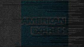 American Express-Logo gemacht vom Quellcode auf Bildschirm Redaktionelle Wiedergabe 3D Lizenzfreie Stockfotografie