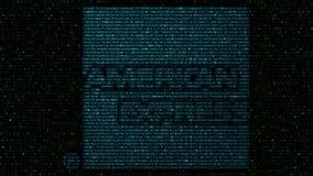 American Express-Logo gemacht von den hexadezimalen Symbolen auf Bildschirm Redaktionelle Wiedergabe 3D Stockfoto