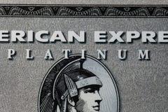 American Express platinakort, Closeup royaltyfria foton