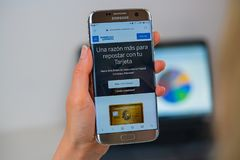 American Express web site on mobile phone royalty free stock photos