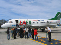 American Falcon Fokker F28s on tarmac at Aeroparque Jorge Newbery in Buenos Aires Royalty Free Stock Photography