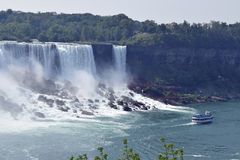 American Fall and Maid of The Mist Niagara Falls Ontario Canada Royalty Free Stock Images