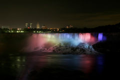 American falls. Amaerican Falls at niagara falls N.Y lite up from the Canadian side Royalty Free Stock Image