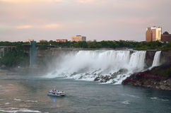 American Falls , Bridal Veil Falls and boat tour Royalty Free Stock Photo