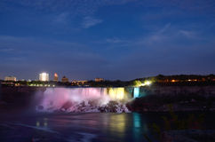 American Falls  and Bridal Veil Falls at night Royalty Free Stock Photo