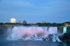American Falls  and Bridal Veil Falls at night Stock Photography