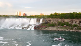 American Falls , Bridal Veil Falls and Rainbow Bridge and boat t Stock Photos