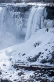 American falls. Covered with snow during winter royalty free stock images