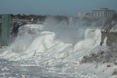 American Falls (Niagara) in the winter. Niagara Falls - American falls, 27 February 2015, on a sunny day, with view of the observation tower Stock Images