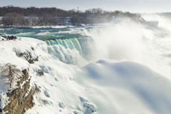 American Falls with Snow Glaciers. Fractures in the glacial mounds at the American Falls in Niagara Royalty Free Stock Photo