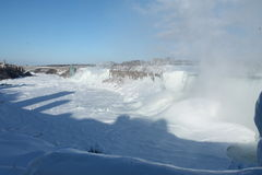 American Falls in the winter. Niagara River completely frozen, 27 February 2015, on a sunny day, plus view of the Rainbow Bridge, and part of the Horseshoe Falls Royalty Free Stock Photography